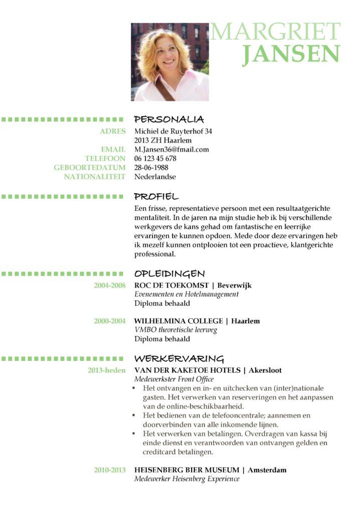 CV Voorbeeld Oxford (Green Daylight) 1/2, het maken van een gratis curriculum vitae (cv)