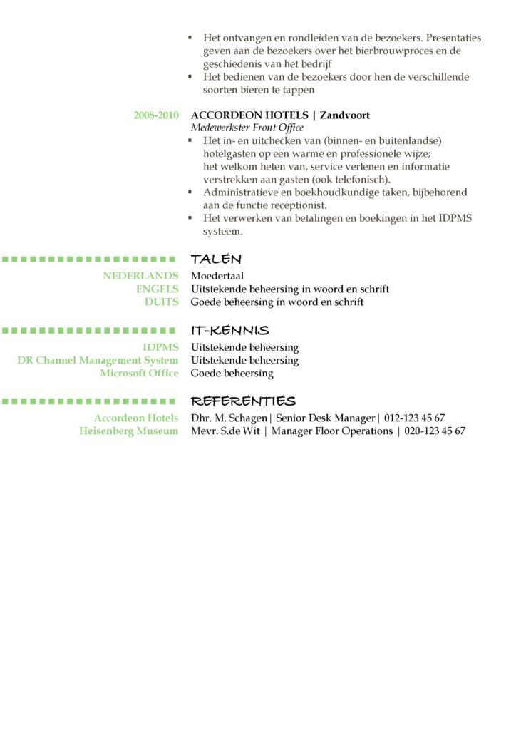 CV Voorbeeld Oxford (Green Daylight) 2/2, het maken van een gratis curriculum vitae (cv), pagina 2