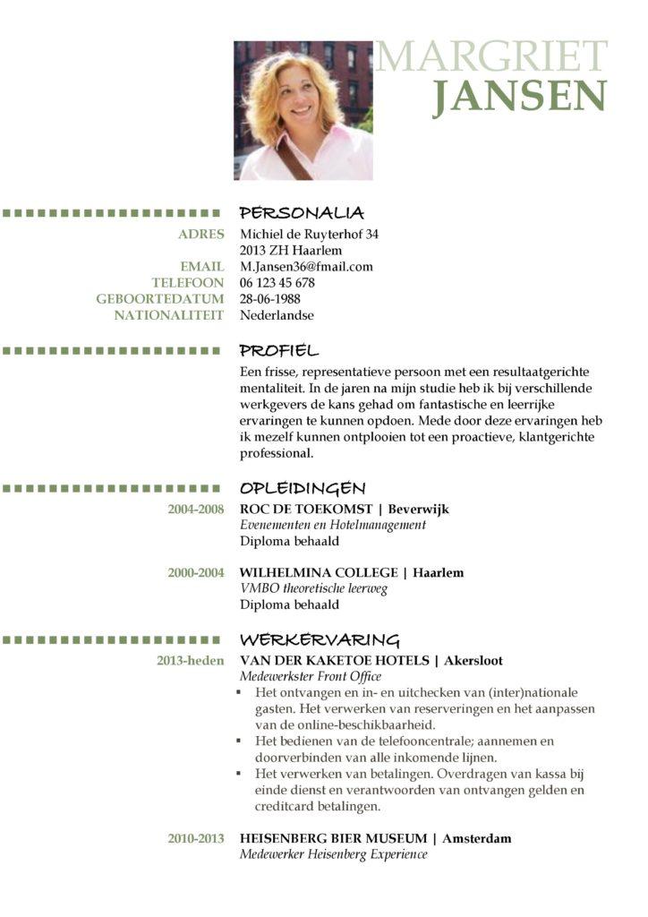 CV Voorbeeld (Green Night) 1/2, cv opstellen sollicitatie, pagina 1