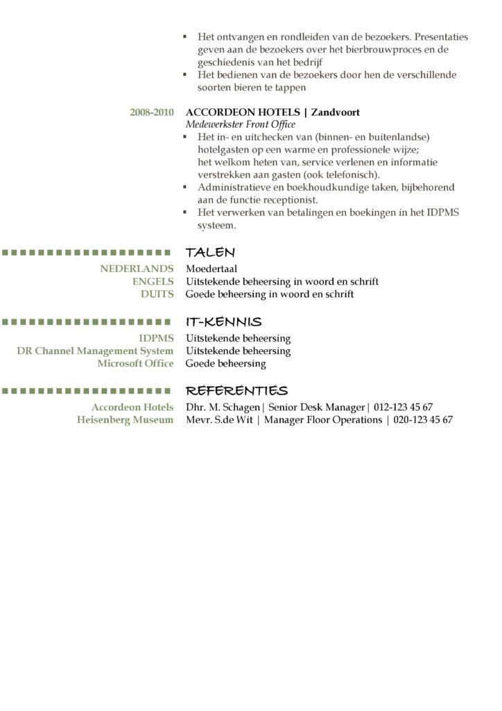 CV Voorbeeld (Green Night) 2/2, cv opstellen sollicitatie, pagina 2